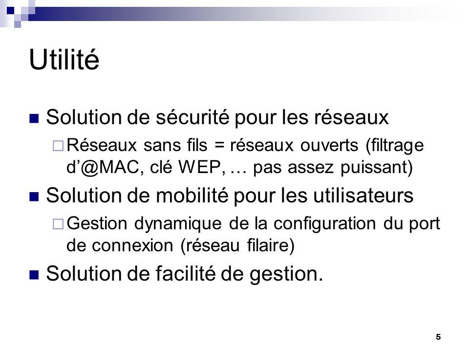 5 Utilité Solution de sécurité pour les réseaux Réseaux sans fils = réseaux ouverts (filtrage d@MAC, clé WEP, … pas assez puissant) Solution de mobili