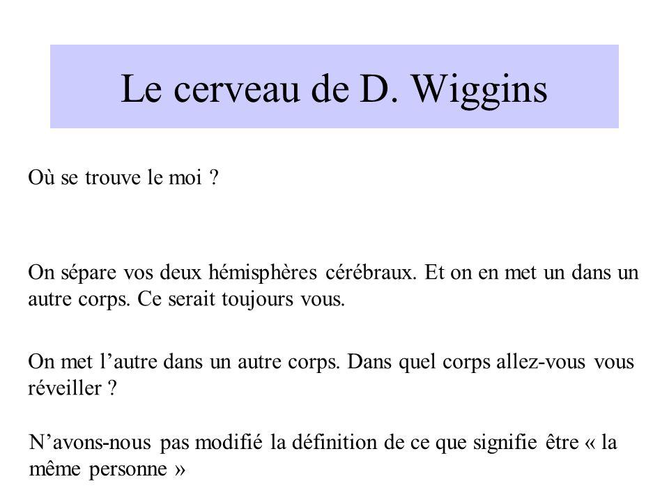 Le cerveau de D. Wiggins Où se trouve le moi ? On sépare vos deux hémisphères cérébraux. Et on en met un dans un autre corps. Ce serait toujours vous.