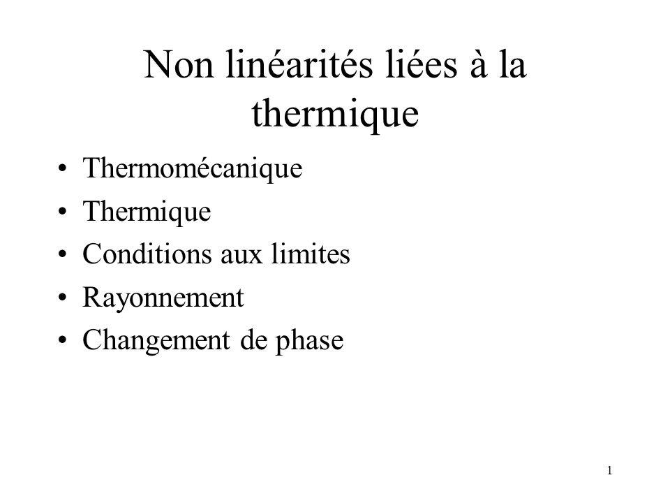 1 Non linéarités liées à la thermique Thermomécanique Thermique Conditions aux limites Rayonnement Changement de phase