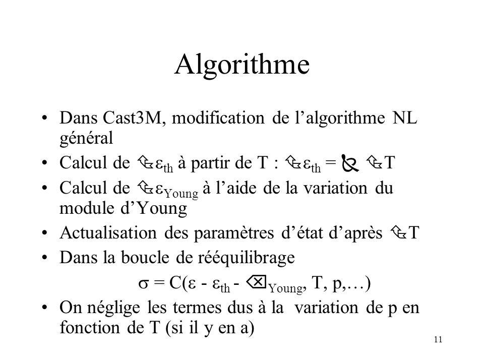 11 Algorithme Dans Cast3M, modification de lalgorithme NL général Calcul de th à partir de T : th = T Calcul de Young à laide de la variation du modul