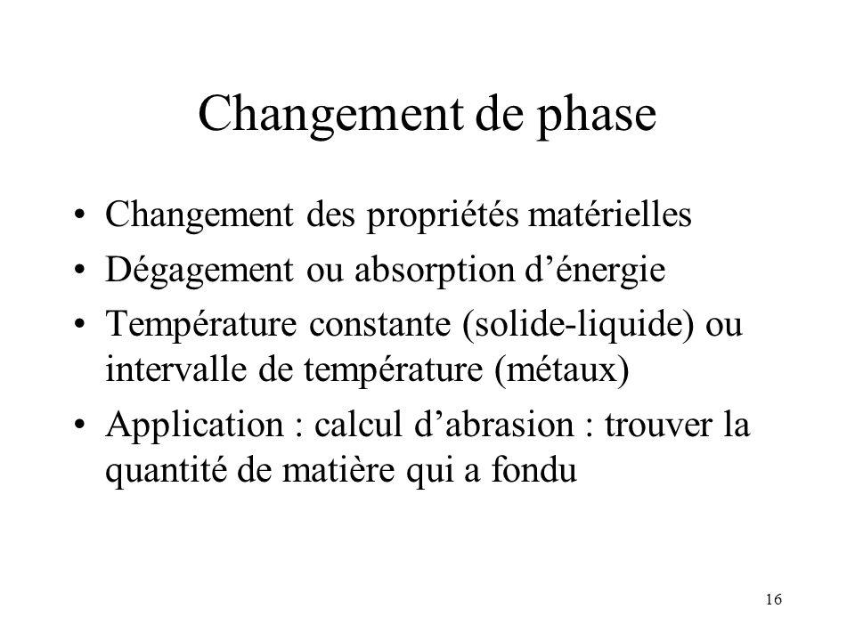 16 Changement de phase Changement des propriétés matérielles Dégagement ou absorption dénergie Température constante (solide-liquide) ou intervalle de