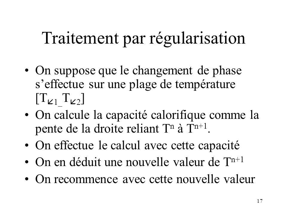 17 Traitement par régularisation On suppose que le changement de phase seffectue sur une plage de température [T 1_ T 2 ] On calcule la capacité calor