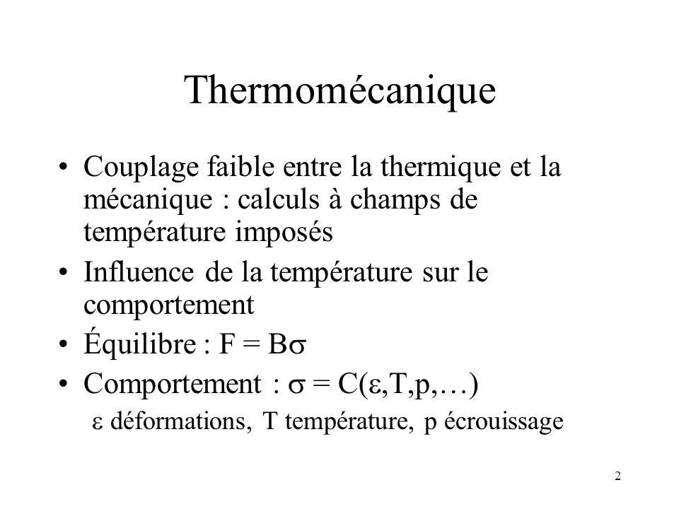 2 Thermomécanique Couplage faible entre la thermique et la mécanique : calculs à champs de température imposés Influence de la température sur le comp
