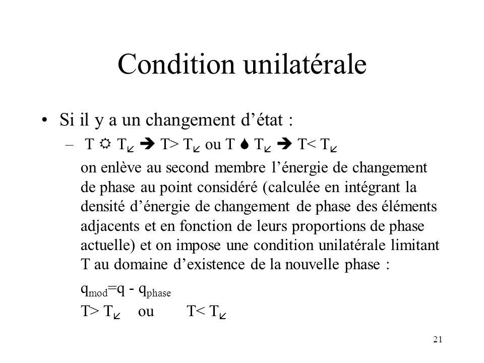 21 Condition unilatérale Si il y a un changement détat : – T T T> T ou T T T< T on enlève au second membre lénergie de changement de phase au point co