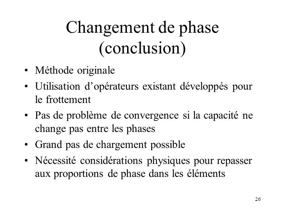 26 Changement de phase (conclusion) Méthode originale Utilisation dopérateurs existant développés pour le frottement Pas de problème de convergence si