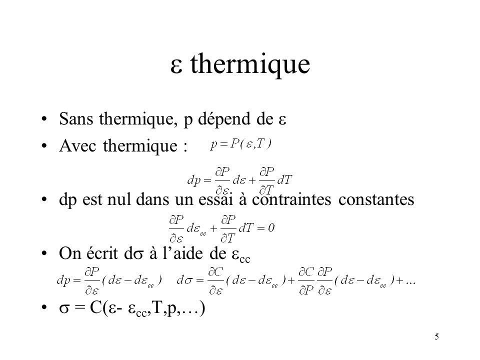 5 thermique Sans thermique, p dépend de Avec thermique : dp est nul dans un essai à contraintes constantes On écrit d à laide de cc = C( - cc,T,p,…)