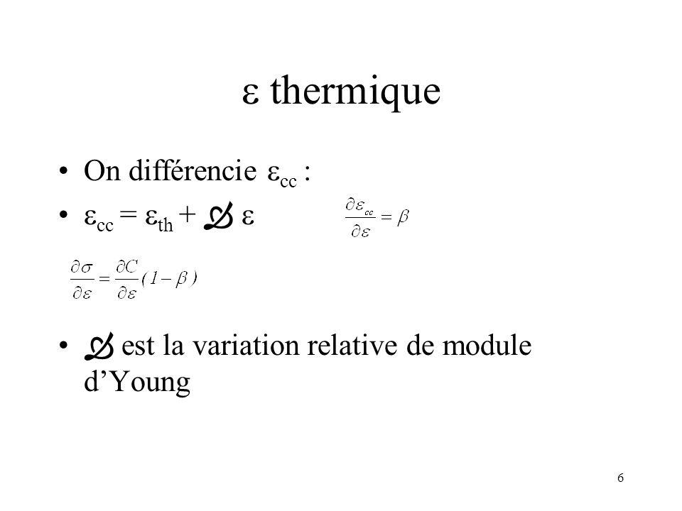 6 thermique On différencie cc : cc = th + est la variation relative de module dYoung