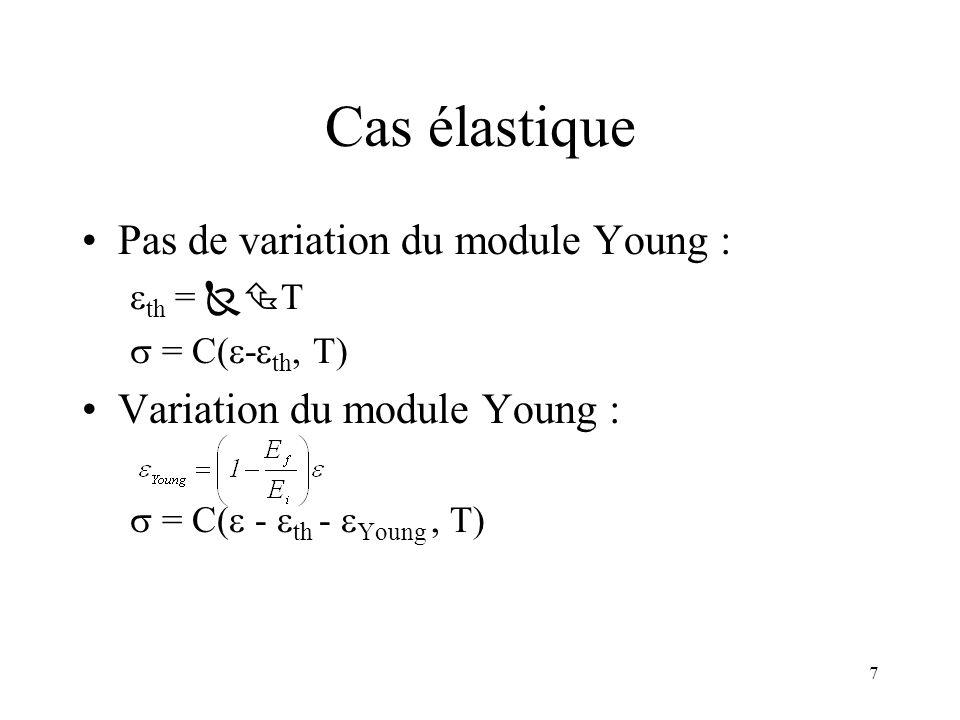 7 Cas élastique Pas de variation du module Young : th = T = C( - th, T) Variation du module Young : = C( - th - Young, T)