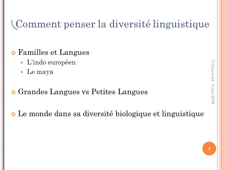 L A FAMILLE INDO E UROPÉENNE 3 C.Grinevald - 9 juin 2008 Comment penser la diversité linguistique.
