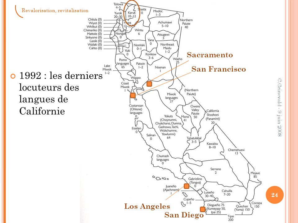 24 C.Grinevald - 9 juin 2008 1992 : les derniers locuteurs des langues de Californie Los Angeles San Francisco Sacramento San Diego Revalorisation, re