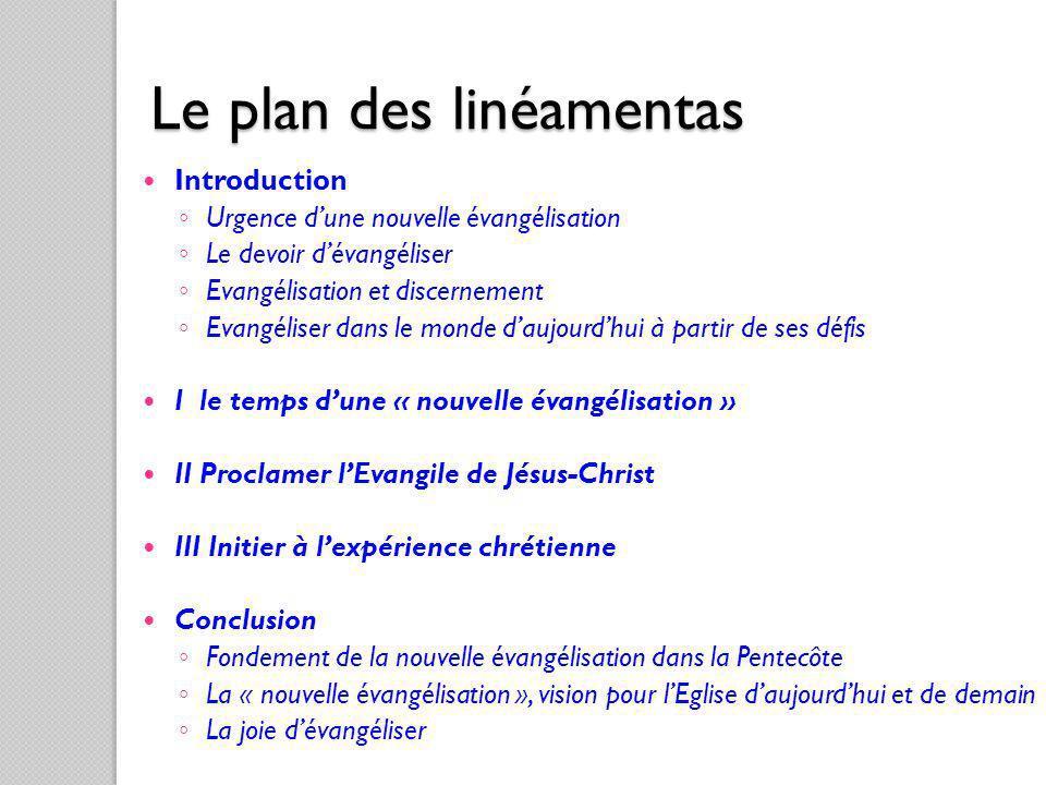 Le plan des linéamentas Introduction Urgence dune nouvelle évangélisation Le devoir dévangéliser Evangélisation et discernement Evangéliser dans le mo