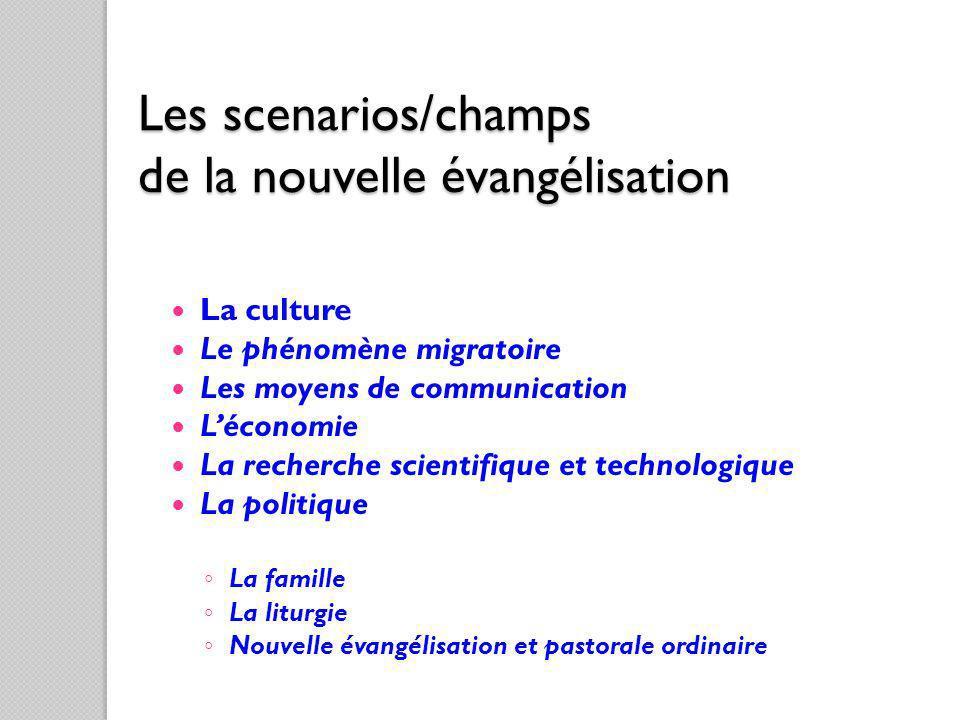 Les scenarios/champs de la nouvelle évangélisation La culture Le phénomène migratoire Les moyens de communication Léconomie La recherche scientifique
