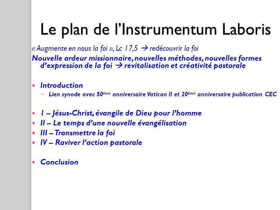 Le plan de lInstrumentum Laboris « Augmente en nous la foi », Lc 17,5 redécouvrir la foi Nouvelle ardeur missionnaire, nouvelles méthodes, nouvelles f
