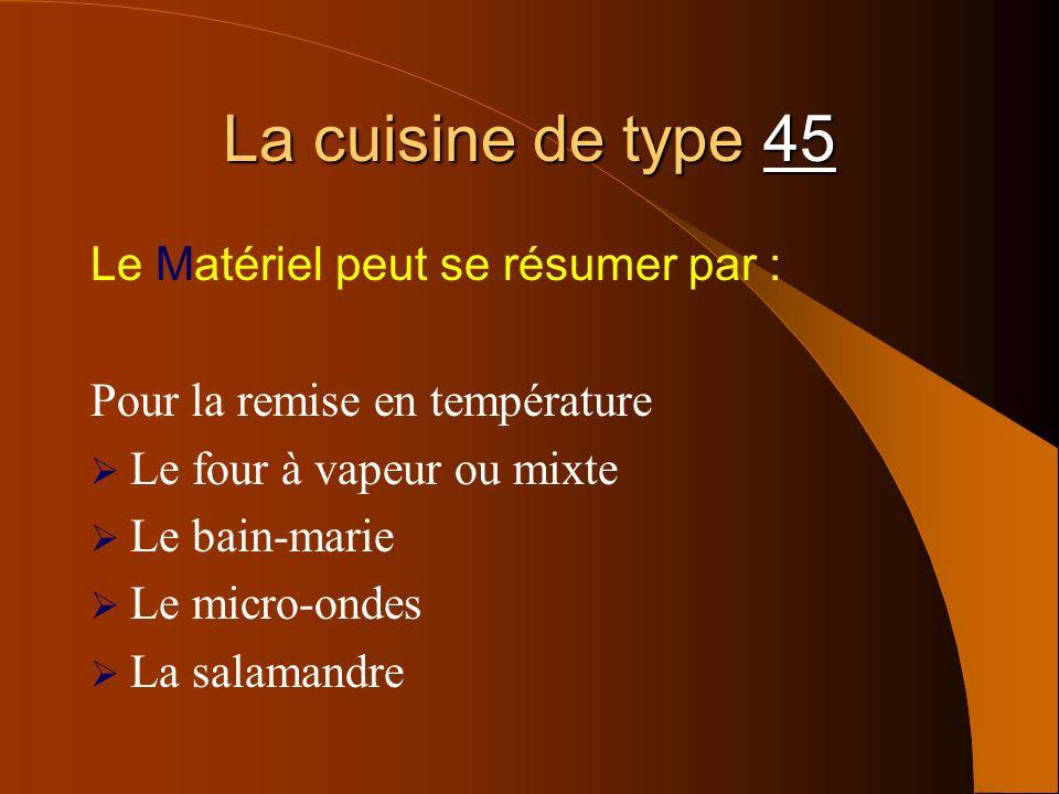 La cuisine de type 45 Le Matériel peut se résumer par : Pour la remise en température Le four à vapeur ou mixte Le bain-marie Le micro-ondes La salama