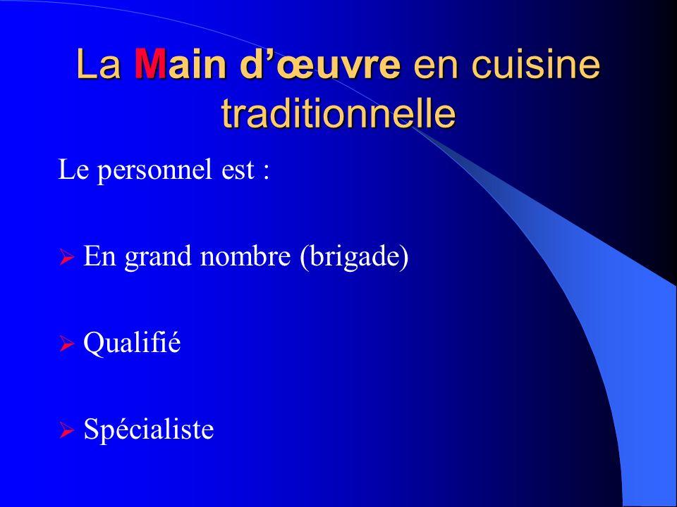 La Main dœuvre en cuisine traditionnelle Le personnel est : En grand nombre (brigade) Qualifié Spécialiste