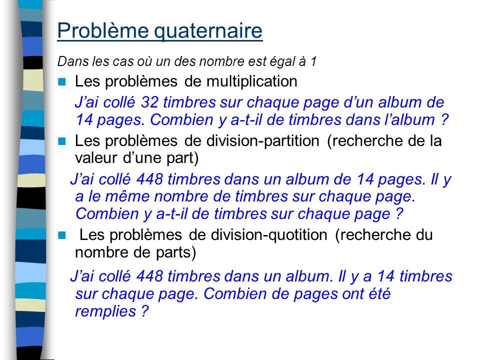 Problème quaternaire Dans les cas où un des nombre est égal à 1 Les problèmes de multiplication Jai collé 32 timbres sur chaque page dun album de 14 p