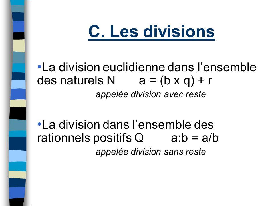 C. Les divisions La division euclidienne dans lensemble des naturels N a = (b x q) + r appelée division avec reste La division dans lensemble des rati