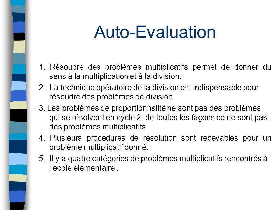 Auto-Evaluation 1. Résoudre des problèmes multiplicatifs permet de donner du sens à la multiplication et à la division. 2. La technique opératoire de