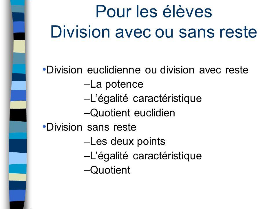 Pour les élèves Division avec ou sans reste Division euclidienne ou division avec reste –La potence –Légalité caractéristique –Quotient euclidien Divi