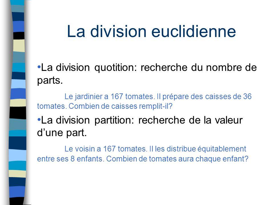 La division euclidienne La division quotition: recherche du nombre de parts. Le jardinier a 167 tomates. Il prépare des caisses de 36 tomates. Combien