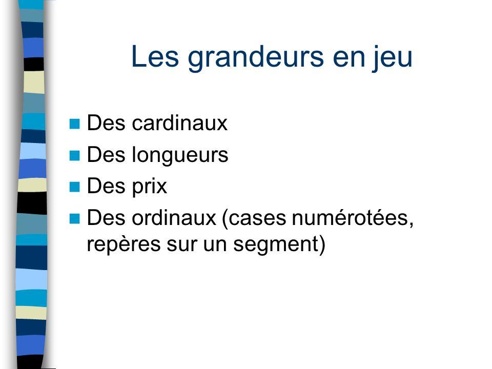Les grandeurs en jeu Des cardinaux Des longueurs Des prix Des ordinaux (cases numérotées, repères sur un segment)