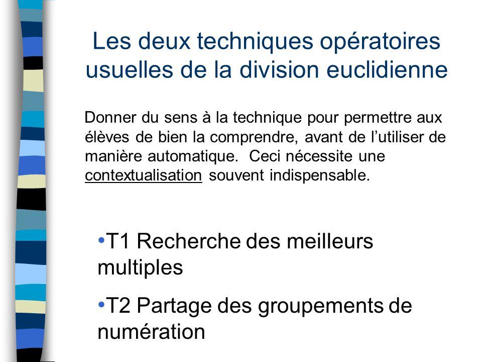 Les deux techniques opératoires usuelles de la division euclidienne Donner du sens à la technique pour permettre aux élèves de bien la comprendre, ava