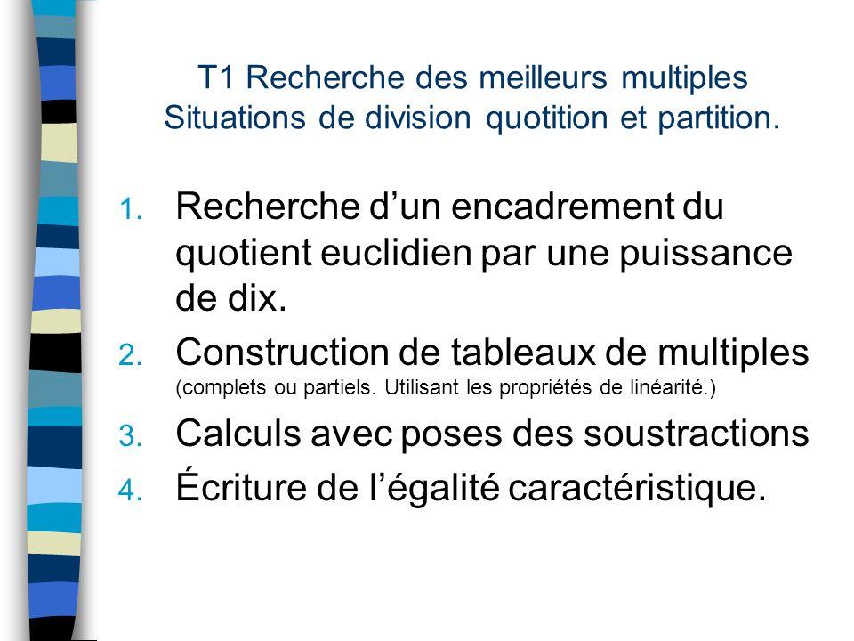 T1 Recherche des meilleurs multiples Situations de division quotition et partition. 1. Recherche dun encadrement du quotient euclidien par une puissan