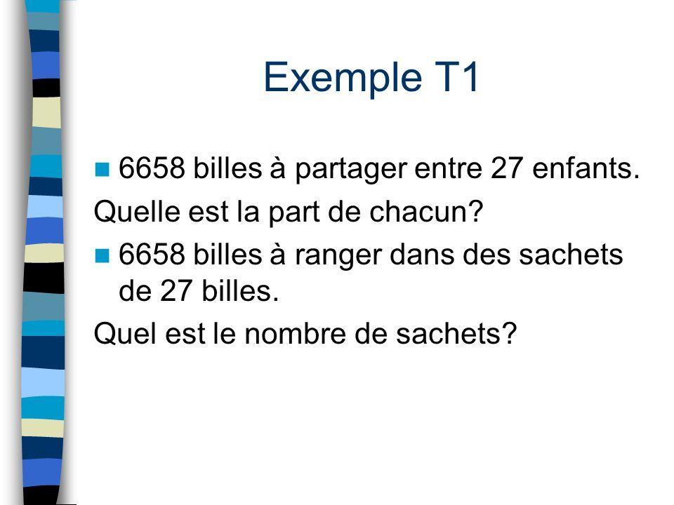 Exemple T1 6658 billes à partager entre 27 enfants. Quelle est la part de chacun? 6658 billes à ranger dans des sachets de 27 billes. Quel est le nomb