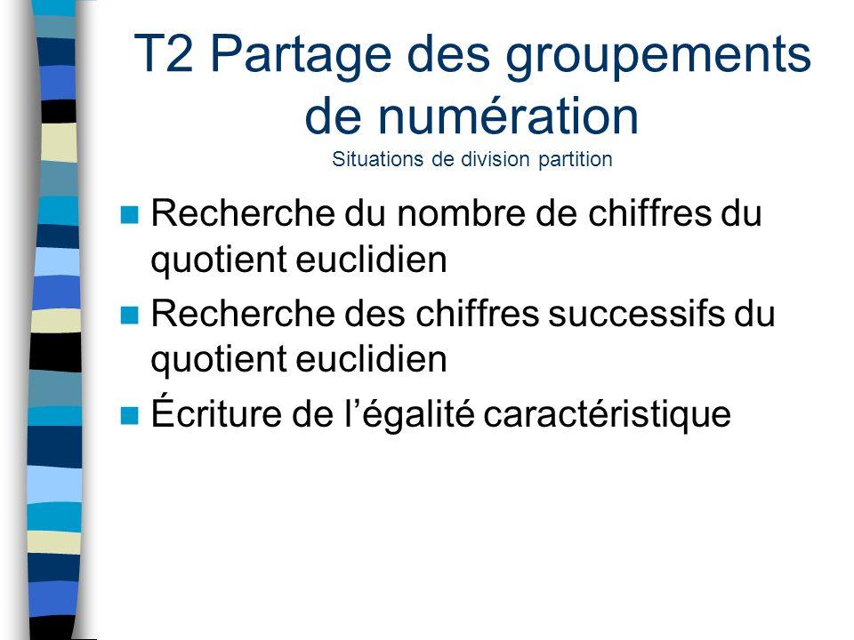T2 Partage des groupements de numération Situations de division partition Recherche du nombre de chiffres du quotient euclidien Recherche des chiffres