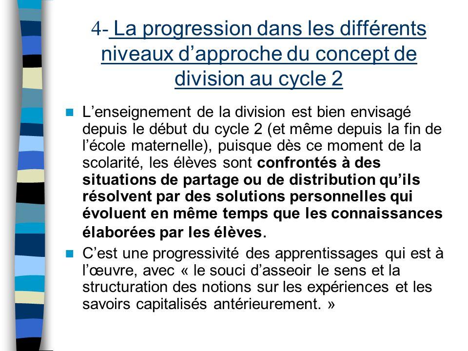 4- La progression dans les différents niveaux dapproche du concept de division au cycle 2 Lenseignement de la division est bien envisagé depuis le déb