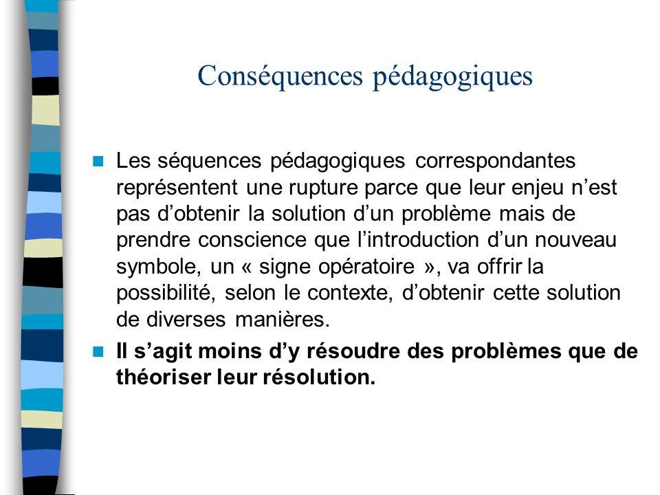 Conséquences pédagogiques Les séquences pédagogiques correspondantes représentent une rupture parce que leur enjeu nest pas dobtenir la solution dun p