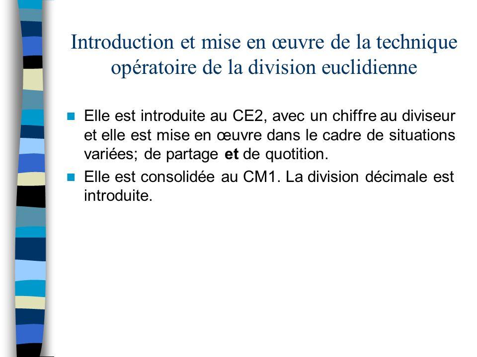 Introduction et mise en œuvre de la technique opératoire de la division euclidienne Elle est introduite au CE2, avec un chiffre au diviseur et elle es