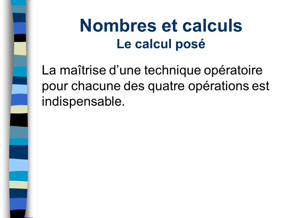 Nombres et calculs Le calcul posé La maîtrise dune technique opératoire pour chacune des quatre opérations est indispensable.