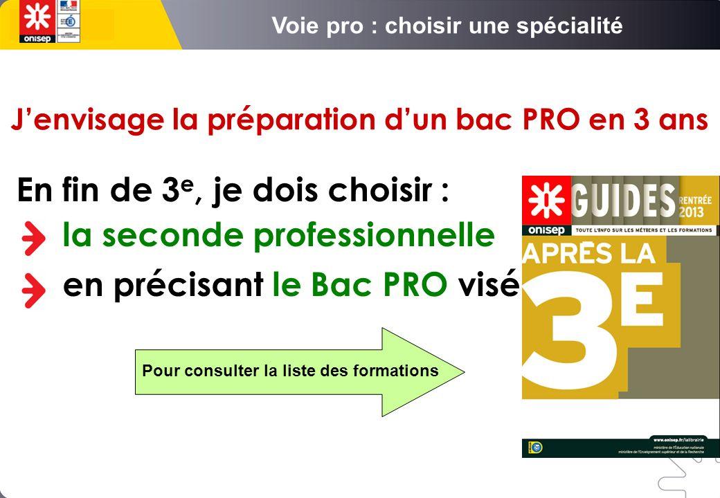Jenvisage la préparation dun bac PRO en 3 ans En fin de 3 e, je dois choisir : la seconde professionnelle en précisant le Bac PRO visé Pour consulter la liste des formations