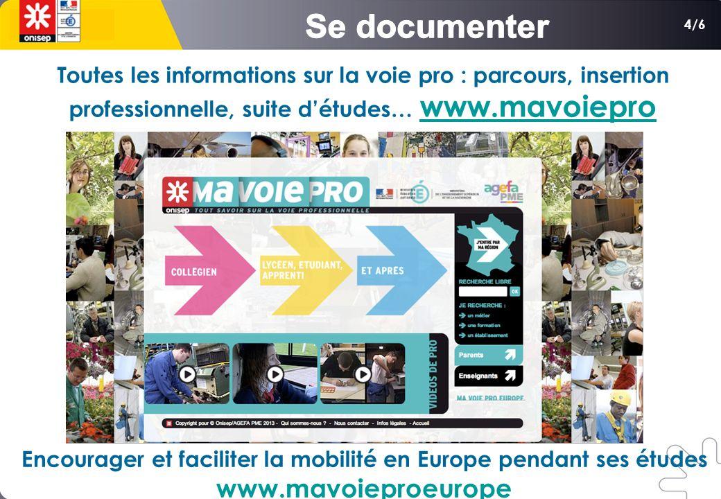 4/6 Toutes les informations sur la voie pro : parcours, insertion professionnelle, suite détudes… www.mavoiepro www.mavoiepro Encourager et faciliter la mobilité en Europe pendant ses études www.mavoieproeurope
