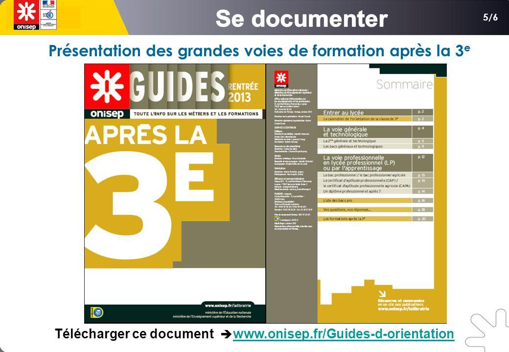 5/6 Présentation des grandes voies de formation après la 3 e Télécharger ce document www.onisep.fr/Guides-d-orientationwww.onisep.fr/Guides-d-orientation