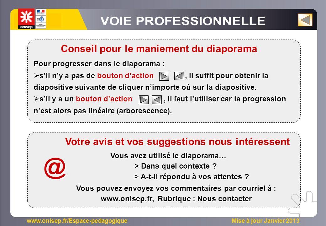 www.onisep.fr/Espace-pedagogique Mise à jour Janvier 2013 Pour progresser dans le diaporama : sil ny a pas de bouton daction, il suffit pour obtenir la diapositive suivante de cliquer nimporte où sur la diapositive.