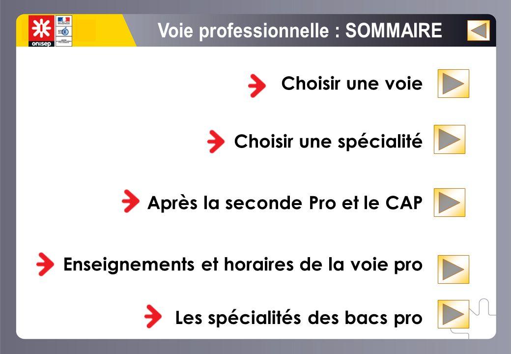 Choisir une voie Choisir une spécialité Après la seconde Pro et le CAP Enseignements et horaires de la voie pro La voie professionnelle rénovée.