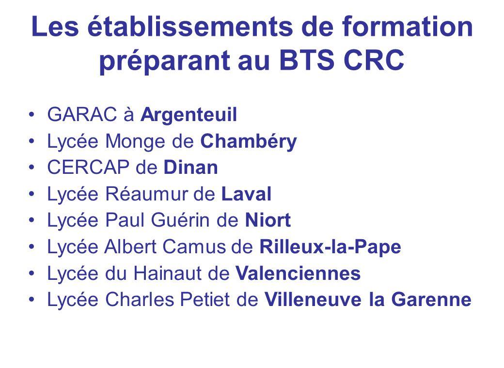 Les établissements de formation préparant au BTS CRC GARAC à Argenteuil Lycée Monge de Chambéry CERCAP de Dinan Lycée Réaumur de Laval Lycée Paul Guér