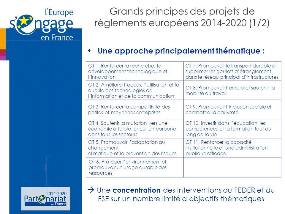 Grands principes des projets de règlements européens 2014-2020 (1/2) Une approche principalement thématique : Une concentration des interventions du FEDER et du FSE sur un nombre limité dobjectifs thématiques OT 1.