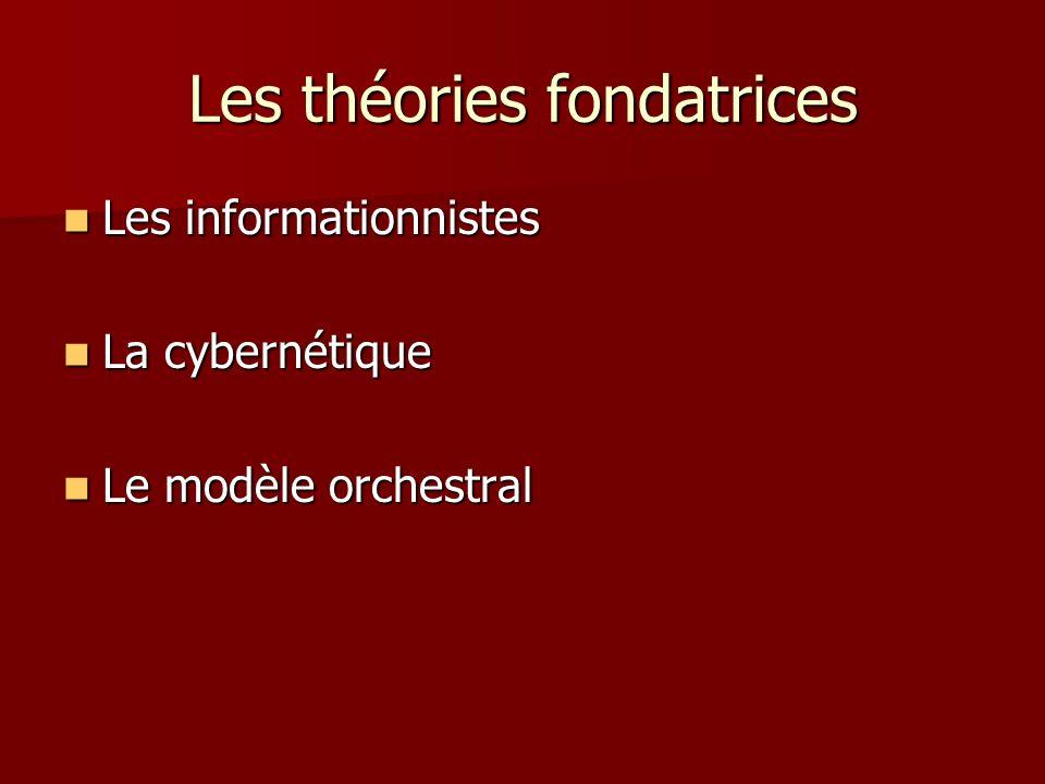 Les théories fondatrices Les informationnistes Les informationnistes La cybernétique La cybernétique Le modèle orchestral Le modèle orchestral