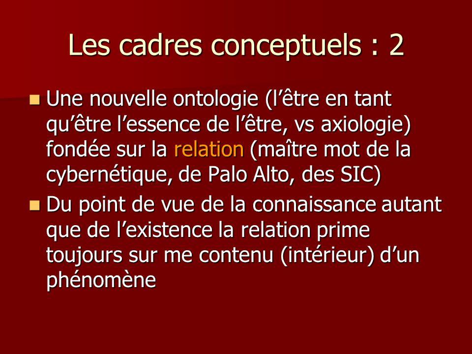 Les cadres conceptuels : 2 Une nouvelle ontologie (lêtre en tant quêtre lessence de lêtre, vs axiologie) fondée sur la relation (maître mot de la cybernétique, de Palo Alto, des SIC) Une nouvelle ontologie (lêtre en tant quêtre lessence de lêtre, vs axiologie) fondée sur la relation (maître mot de la cybernétique, de Palo Alto, des SIC) Du point de vue de la connaissance autant que de lexistence la relation prime toujours sur me contenu (intérieur) dun phénomène Du point de vue de la connaissance autant que de lexistence la relation prime toujours sur me contenu (intérieur) dun phénomène