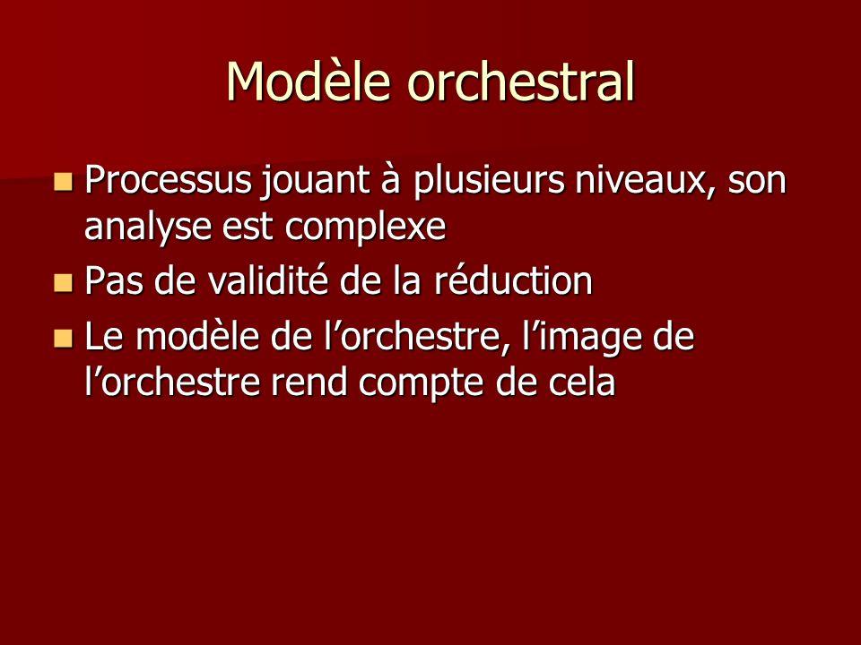 Modèle orchestral Processus jouant à plusieurs niveaux, son analyse est complexe Processus jouant à plusieurs niveaux, son analyse est complexe Pas de validité de la réduction Pas de validité de la réduction Le modèle de lorchestre, limage de lorchestre rend compte de cela Le modèle de lorchestre, limage de lorchestre rend compte de cela