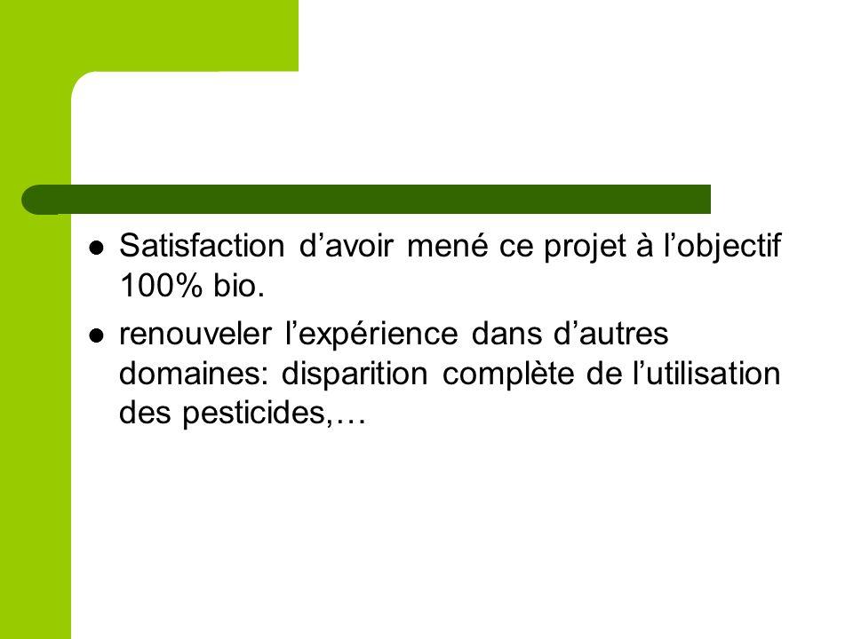 Satisfaction davoir mené ce projet à lobjectif 100% bio. renouveler lexpérience dans dautres domaines: disparition complète de lutilisation des pestic