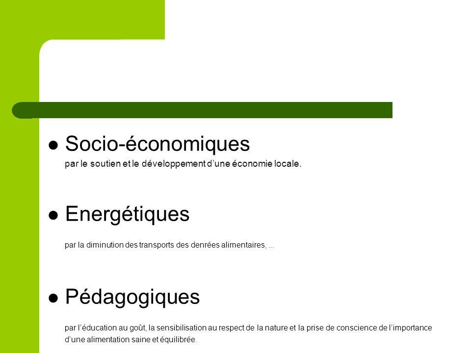 Socio-économiques par le soutien et le développement dune économie locale. Energétiques par la diminution des transports des denrées alimentaires,...