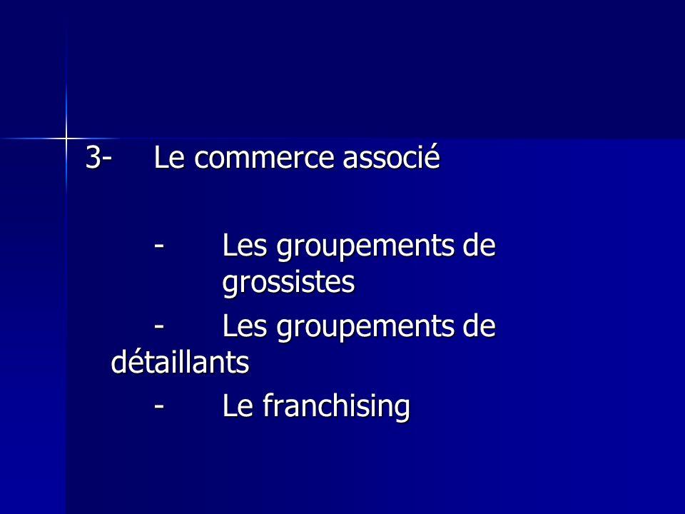 3-Le commerce associé -Les groupements de grossistes -Les groupements de détaillants -Le franchising