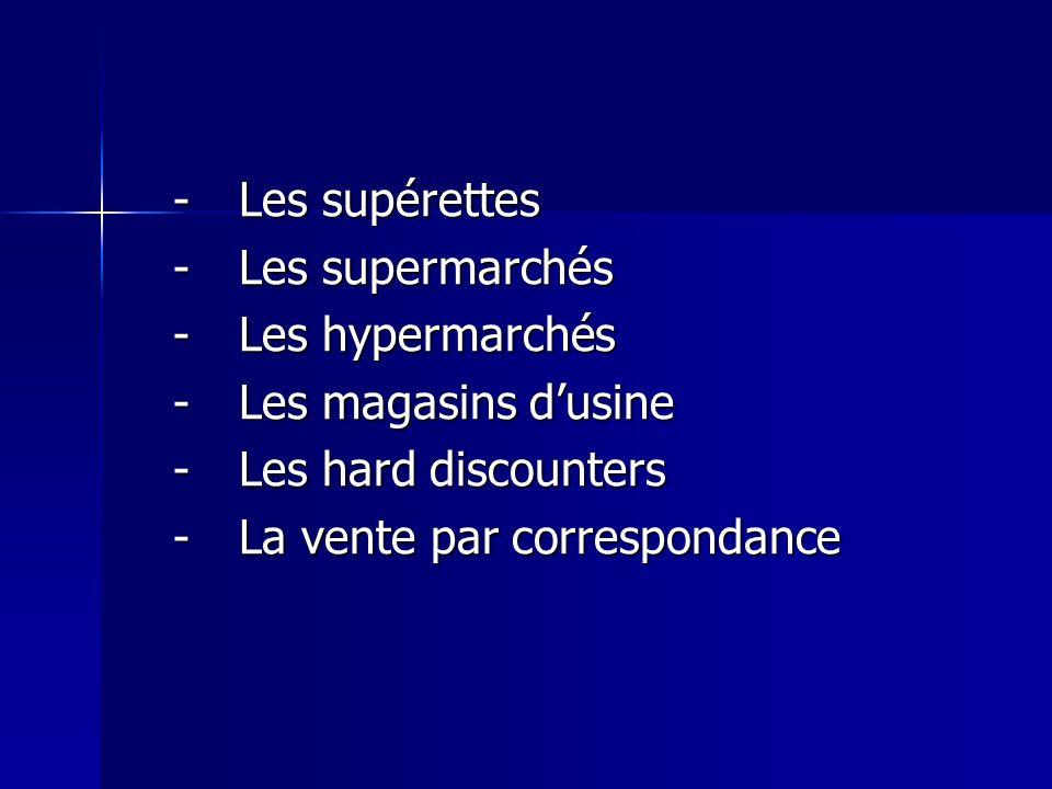 -Les supérettes -Les supermarchés -Les hypermarchés -Les magasins dusine -Les hard discounters -La vente par correspondance