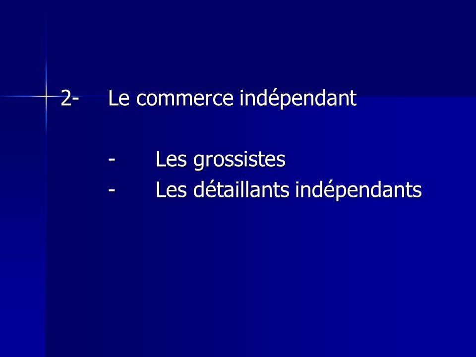 2-Le commerce indépendant -Les grossistes -Les détaillants indépendants