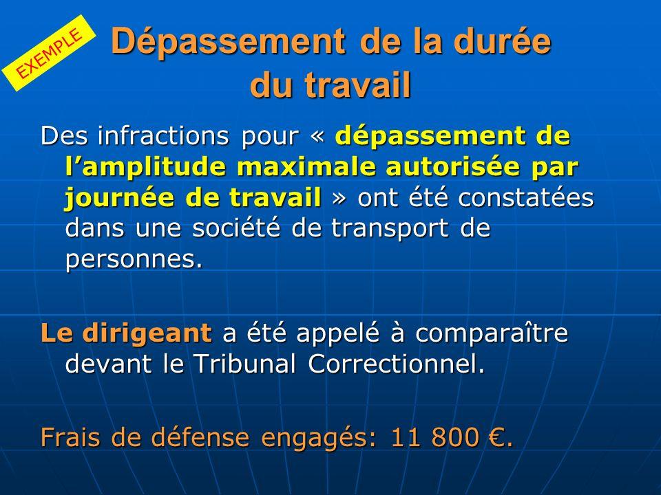 Dépassement de la durée du travail Des infractions pour « dépassement de lamplitude maximale autorisée par journée de travail » ont été constatées dan