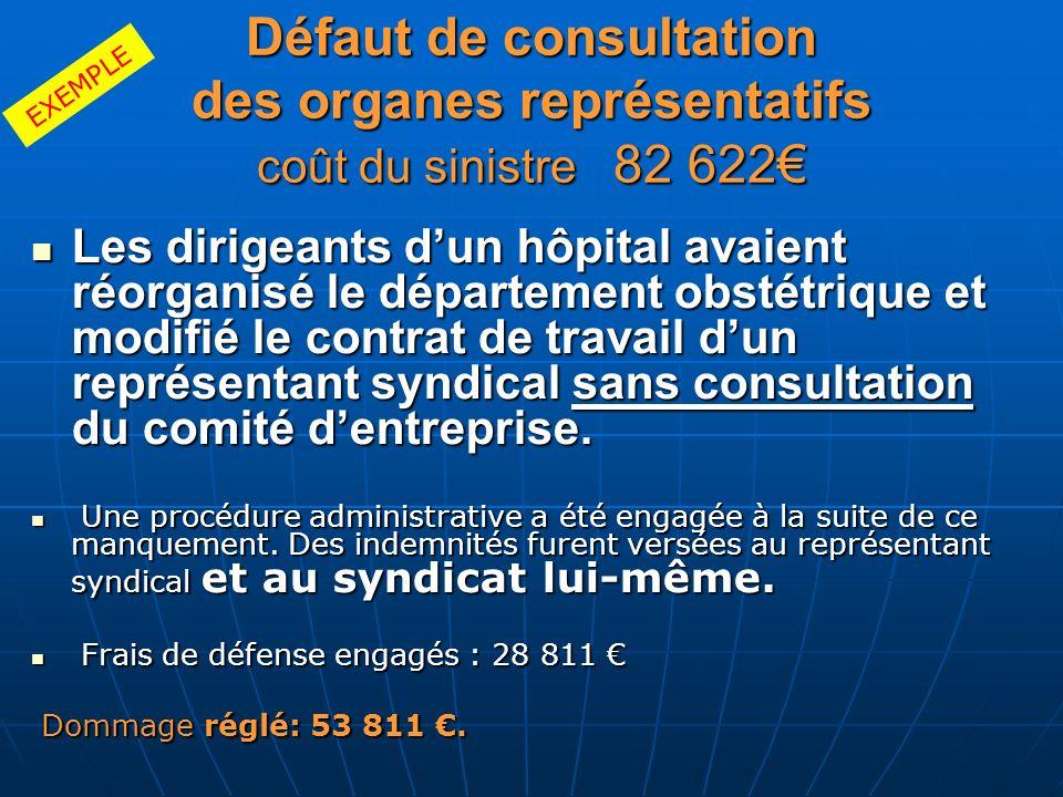 Défaut de consultation des organes représentatifs coût du sinistre 82 622 Les dirigeants dun hôpital avaient réorganisé le département obstétrique et